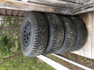 Studded winter tires and rims