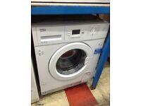 Beko intergrated 8kg 1300 spin washing machine 12 month gtee