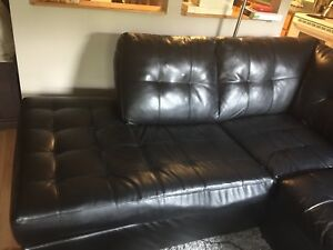 Large Black Leather Sectional [SOLD PPU on 8/28]