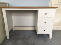 Second hand SOLID WOOD DESK with white frame in excellent condition for sale