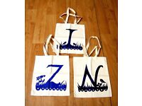 HOLIDAY / TRAVEL 3 TOTE BAGS CANVAS ROB RYAN ALPHABET BRANDED BRAND NEW JOB LOT
