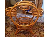 4 basket wicker flower pot stand