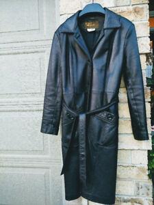 Long Elegant Black Women's Genuine Leather Coat