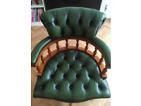 Captains desk office chair leather - £150 ono