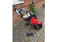 Full set of MD golf clubs plus bag and trolley