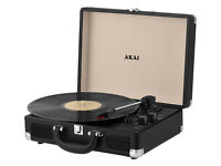 Akai A60011N Briefcase Style 3-Speed Portable Turntable with Built-In Speakers