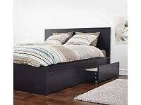 Excellent Condition IKEA Single Malm bed in black/brown with storage drawers & HOVAG single mattress