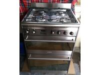Smeg 60cm dual fuel double oven stainless steel cooker SUK62MX8
