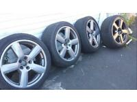 Audi 18 inch rs6 a6 style alloy wheels with tyres 5x112 and alloys vw