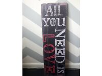 All you need is love wooden sign distressed style