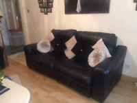 3&2 seater black leather couch