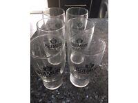 Set of 6 new, Bulmers branded pint glasses.