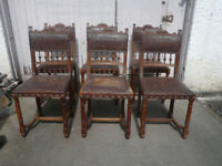 Amazing set of Six 19th Century antique Oak Dining Chairs with Tooled Carved Leather Seats