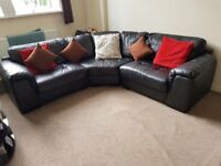 Black real Leather corner sofa in VGC Delivery Poss