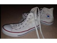 Ladies White High Top Converse All Star Trainers Size 5 Genuine