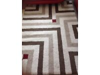 Rug beige ,brown ,red , also curtains , also red 3 seater ,2seater sofas ,stool and chair