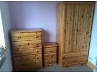 Wardrobe, Chest Of Draws & Bedside Cabinet