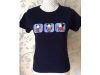 Women's Navy Blue Short Sleeve T-Shirt with Cute Motif Size 14 BNWT