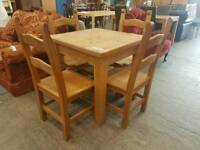 Farmhouse pine wood table and 4 chairs
