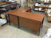 Big wood and metal corner desk