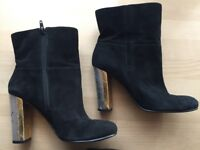 NINE WEST Women's Black Suede Boots with Silver & Gold Block Heels, SIZE 5.