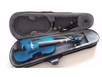 Striking blue 1/2 violin with case