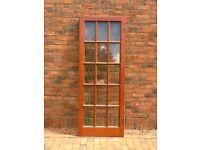 15 pane, solid mahogany frame door