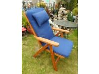 good quality chunky wooden folding garden patio chair with cushion
