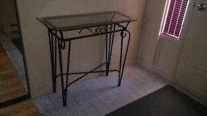 table de verre - fer forgé