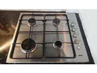 ZANUSSI 4 RING GAS HOB WITH SAFETY STRIKER AND MATCHING EXTRACTOR FAN.