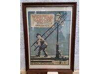 Vintage Advertising Poster Veritable Mantles in Oak Frame not Enamel