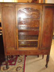 ARTISAN REFINISHED Antique WALNUT China Cabinet w/ Poured Glass