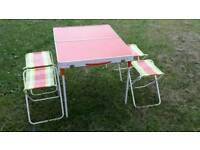 Genuine retro fold up picnic table including 4 fold up stools legs etc all fits inside
