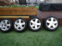 FORD 15 INCH ALLOY WHEELS WITH BRAND NEW TYRES 4 STUD WILL FIT PUEGOT CITROEN RENAULT ALSO