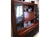 Display Cabinet/sideboard with lighting feature, solid mahogany wood, drop down bar surface!!