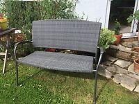 Garden Seat -Smokey grey colour, metal frame, woven seat & back