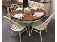 Lovely Solid Pine Circular Extending Table with 4 Vintage Ercol Chairs-White-Shabby Chic
