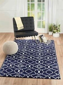 NEW Summit Elite # 67 Navy Blue White Trellis Area Rug
