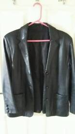 Black leather jacket - size 10 petite