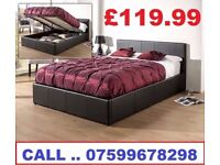 BRAND NEW DOUBLE LEATHER GASLIFT OTTOMAN STORAGE BED....