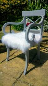 Shabby chic chair with faux Mongolian fur seat