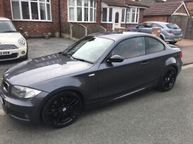 BMW 123d M sport, Metallic grey, red leather seats, front and rear parking sensors