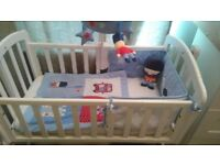 Baby boy wgite swinging crib and soldier 'babies r us' soldier boy bedding