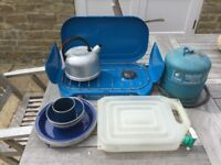Camping stove & gas Bottle + kettle and plates, bowls, water container
