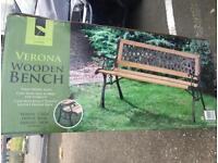 Outdoor wooden verona cross lattice bench with cast iron legs