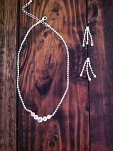 Never worn. Rhinestone Necklace and Earring Set