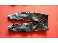 Mens black RST leather motorbike trousers