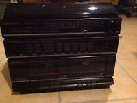 vintage crown hifi/record player/twin tape cassette/tuner/speakers in good working order