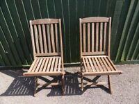 Pair of Teak Fold Up Garden Chairs