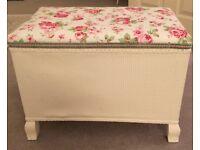 Beautiful white Lloyd Loom ottoman chest box Cath Kidston upholstery